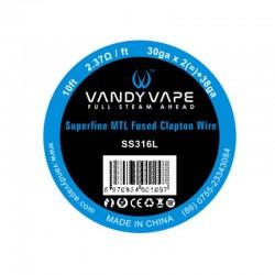 Tilbehør & DiY Vandy Vape Superfine MTL Fused Clapton SS316 (30AWGx2 + 38AWG) eclshop.dk