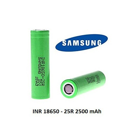 Batterier Samsung INR 18650 25R, 2500mAh 3.6V 20amp eclshop.dk